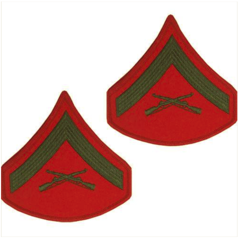 Vanguard MARINE CORPS CHEVRON: LANCE CORPORAL - GREEN EMBROIDERED ON RED, MALE