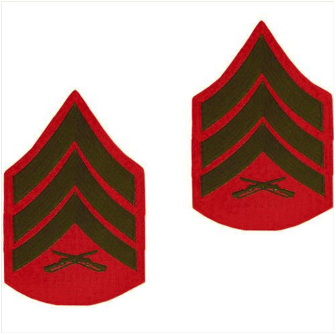 Vanguard MARINE CORPS CHEVRON: SERGEANT - GREEN EMBROIDERED ON RED, MALE