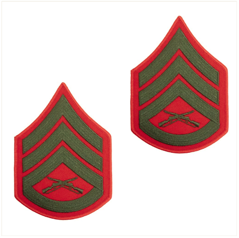 Vanguard MARINE CORPS CHEVRON: STAFF SERGEANT - GREEN EMBROIDERED ON RED, MALE
