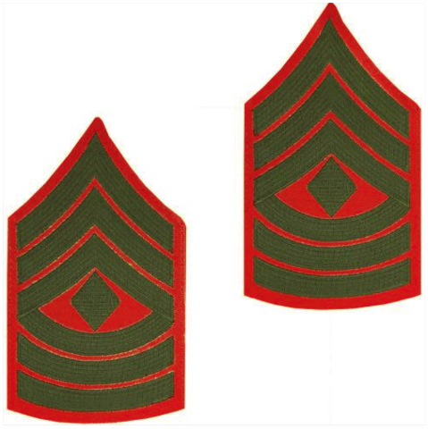 Vanguard MARINE CORPS CHEVRON: FIRST SERGEANT - GREEN EMBROIDERED ON RED, MALE