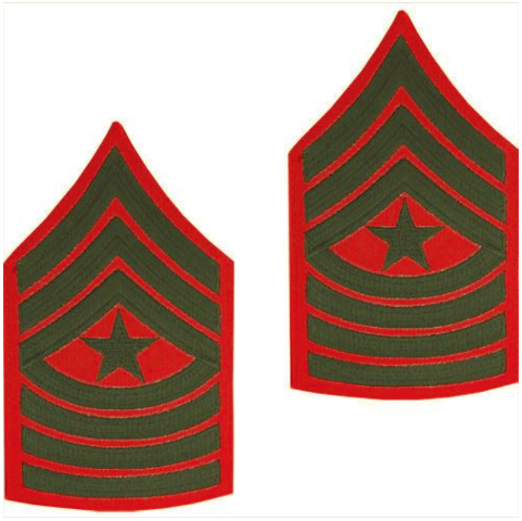 Vanguard MARINE CORPS CHEVRON: SERGEANT MAJOR - GREEN EMBROIDERED ON RED, MALE