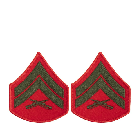 Vanguard MARINE CORPS CHEVRON: CORPORAL - GREEN EMBROIDERED ON RED, FEMALE