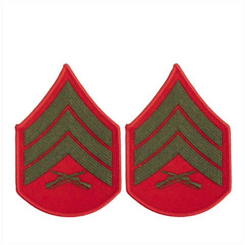 Vanguard MARINE CORPS CHEVRON: SERGEANT - GREEN EMBROIDERED ON RED, FEMALE