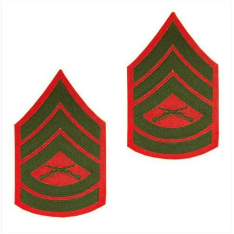 Vanguard MARINE CORPS CHEVRON: GUNNERY SERGEANT GREEN EMBROIDERED ON RED, FEMALE