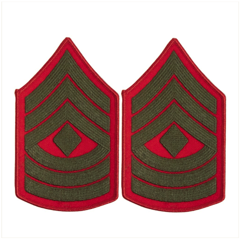 Vanguard MARINE CORPS CHEVRON: FIRST SERGEANT - GREEN EMBROIDERED ON RED, FEMALE