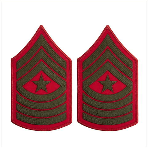 Vanguard MARINE CORPS CHEVRON: SERGEANT MAJOR - GREEN EMBROIDERED ON RED, FEMALE