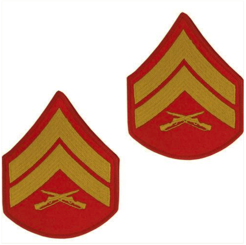Vanguard MARINE CORPS CHEVRON: CORPORAL - GOLD EMBROIDERED ON RED, MALE