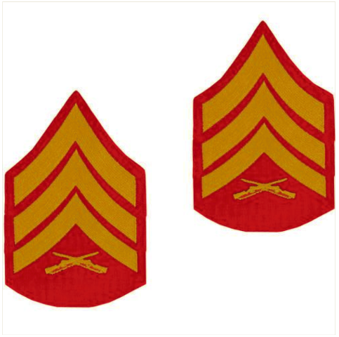 Vanguard MARINE CORPS CHEVRON: SERGEANT - GOLD EMBROIDERED ON RED, MALE