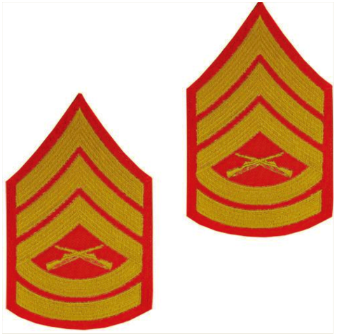 Vanguard MARINE CORPS CHEVRON: GUNNERY SERGEANT - GOLD EMBROIDERED ON RED, MALE