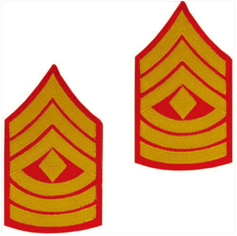 Vanguard MARINE CORPS CHEVRON: FIRST SERGEANT - GOLD EMBROIDERED ON RED, MALE