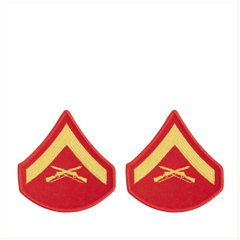 Vanguard MARINE CORPS CHEVRON: LANCE CORPORAL - GOLD EMBROIDERED ON RED, FEMALE