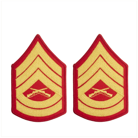 Vanguard MARINE CORPS CHEVRON: GUNNERY SERGEANT GOLD EMBROIDERED ON RED, FEMALE