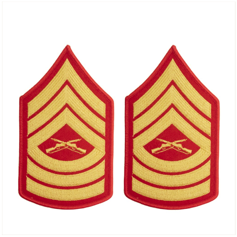 Vanguard MARINE CORPS CHEVRON: MASTER SERGEANT - GOLD EMBROIDERED ON RED, FEMALE