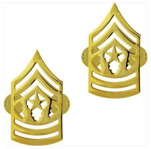 Vanguard ARMY CHEVRON: COMMAND SERGEANT MAJOR - 22K GOLD PLATED