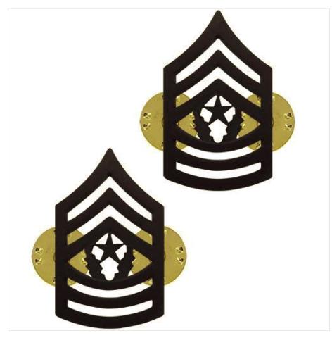 Vanguard ARMY CHEVRON: COMMAND SERGEANT MAJOR - BLACK METAL