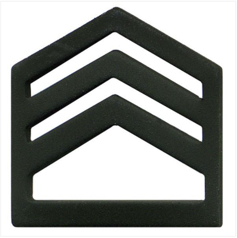 Vanguard ARMY ROTC CHEVRON: STAFF SERGEANT SENIOR DIVISION - BLACK METAL