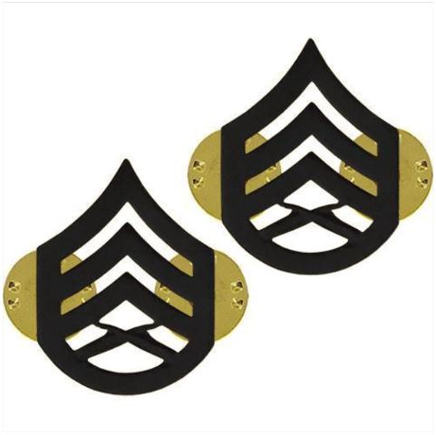Vanguard MARINE CORPS CHEVRON: STAFF SERGEANT - BLACK METAL, SOLID BRASS