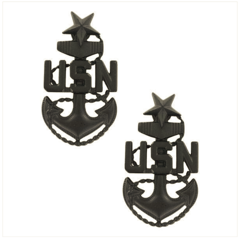 Vanguard NAVY COLLAR DEVICE: E-8 SEABEE LARGE (Black) (Pair)