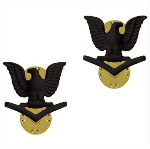 Vanguard NAVY COLLAR DEVICE: E4 SEABEE - BLACK METAL