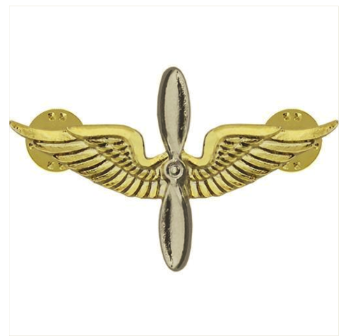 Vanguard ARMY OFFICER BRANCH OF SERVICE COLLAR DEVICE: AVIATION 22K GOLD PLATED