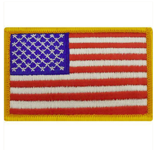 Vanguard FLAG PATCH: UNITED STATES OF AMERICA - 2 BY 3 INCHES GOLD MERROWED EDGE
