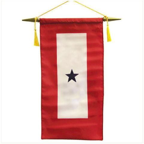 "Vanguard FLAG: MADE IN USA - SERVICE BANNER WITH ONE BLUE STAR 8"" x 15"""
