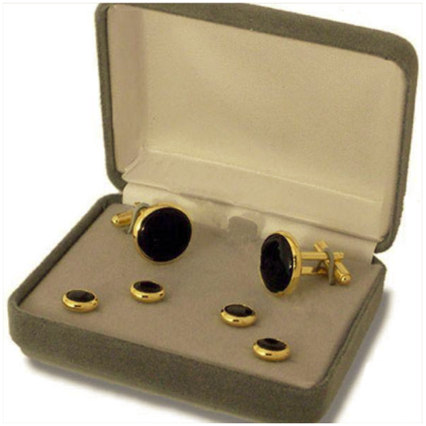Vanguard NAVY CUFF LINKS AND SHIRT STUD: BLACK ONYX WITH GOLD BACKING - SET OF 4