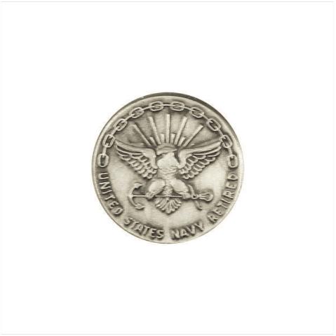Vanguard NAVY LAPEL PIN: RETIRED 20 YEAR - SILVER