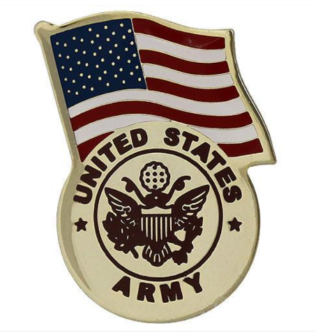 Vanguard ARMY LAPEL PIN: UNITED STATES FLAG WITH ARMY EMBLEM