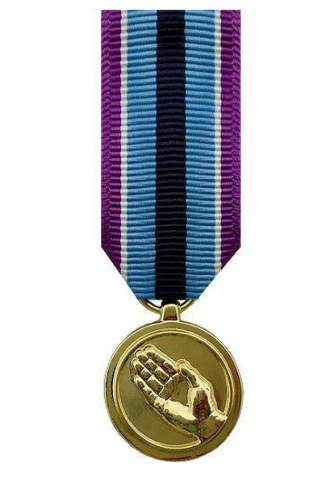 Vanguard MINIATURE MEDAL: HUMANITARIAN SERVICE - 24K GOLD PLATED
