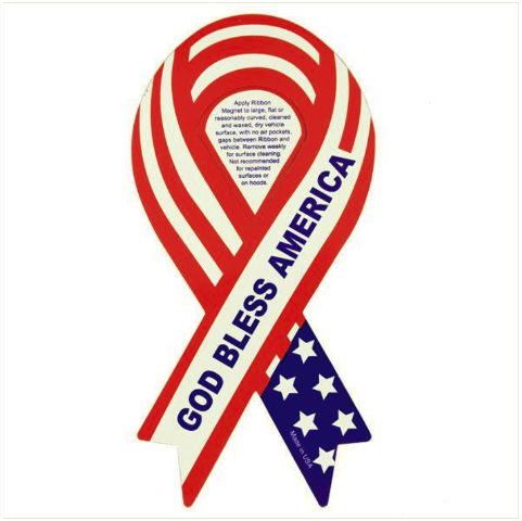 Vanguard RIBBON MAGNET: RED, WHITE AND BLUE GOD BLESS AMERICA