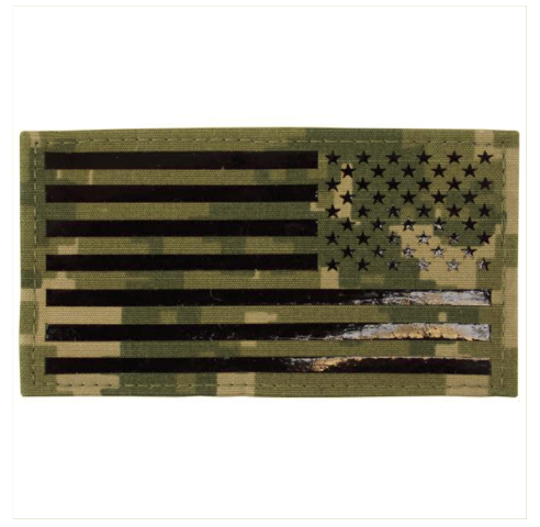 Vanguard FLAG PATCH: U.S. FLAG REVERSED FIELD - IR (INFRARED) - WOODLAND DIGITAL