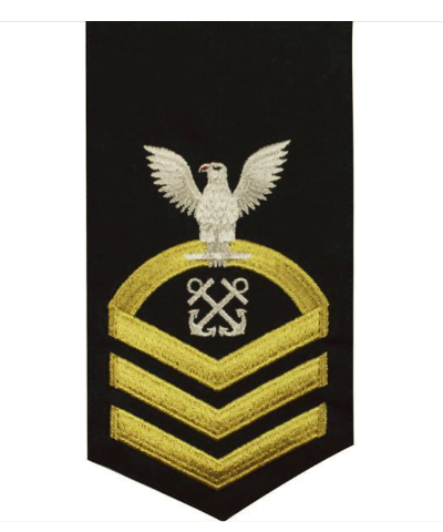 Vanguard NAVY E7 MALE RATING BADGE: BOATSWAINS MATE - SEAWORTHY GOLD ON BLUE