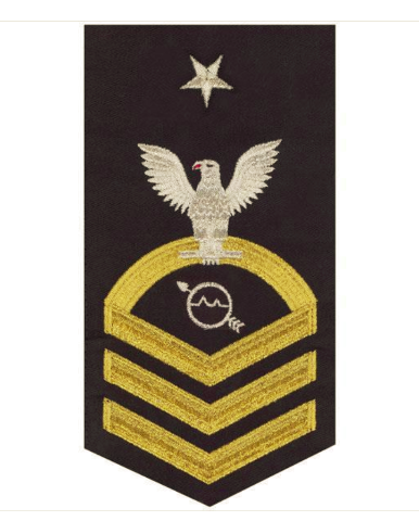 Vanguard NAVY E8 MALE RATING BADGE: OPERATIONS SPECIALIST SEAWORTHY GOLD ON BLUE