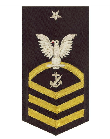 Vanguard NAVY E8 MALE RATING BADGE: NAVY COUNSELOR - VANCHIEF ON BLUE