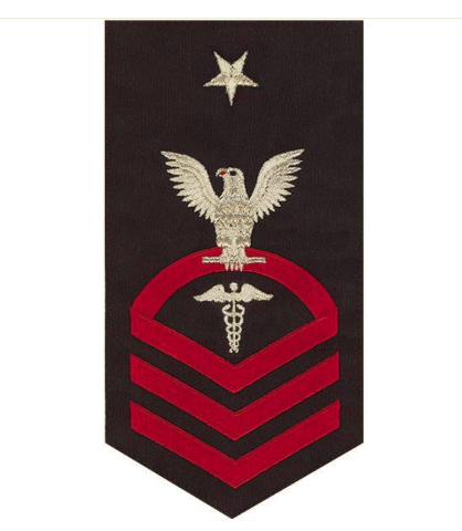 Vanguard NAVY E8 MALE RATING BADGE: HOSPITAL CORPSMAN - SEAWORTHY RED ON BLUE
