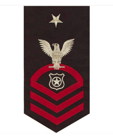 Vanguard NAVY E8 MALE RATING BADGE: MASTER AT ARMS - SEAWORTHY RED ON BLUE