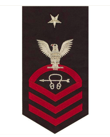 Vanguard NAVY E8 MALE RATING BADGE: SONAR TECHNICIAN - SEAWORTHY RED ON BLUE