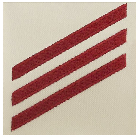 Vanguard NAVY E3 RATING BADGE: FIREMAN - RED CHEVRONS ON WHITE POPLIN