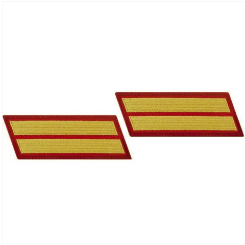 Vanguard MARINE CORPS SERVICE STRIPE: MALE - GOLD EMBROIDERED ON RED, SET OF 2
