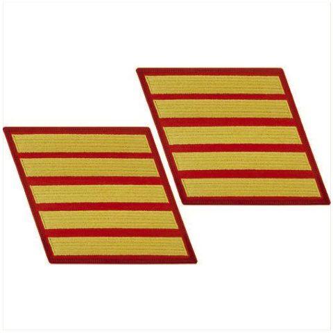 Vanguard MARINE CORPS SERVICE STRIPE: MALE - GOLD EMBROIDERED ON RED, SET OF 5