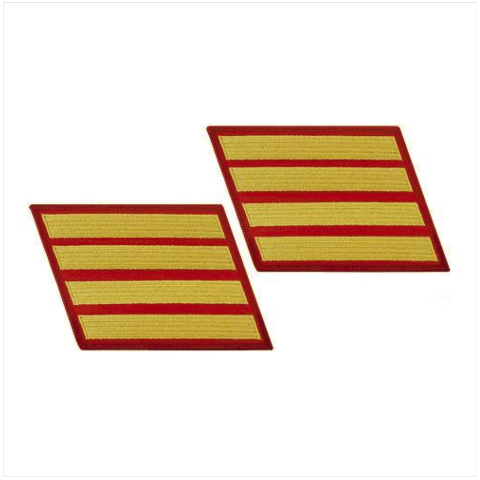 Vanguard MARINE CORPS SERVICE STRIPE: FEMALE - GOLD ON RED, SET OF 4