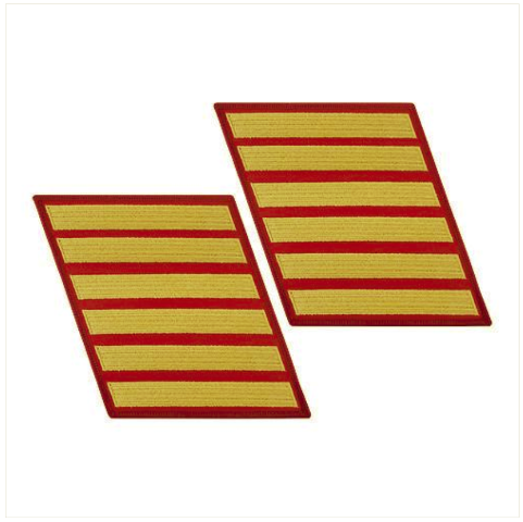Vanguard MARINE CORPS SERVICE STRIPE: FEMALE - GOLD ON RED, SET OF 6