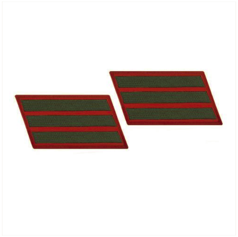 Vanguard MARINE CORPS SERVICE STRIPE: FEMALE - GREEN ON RED, SET OF 3