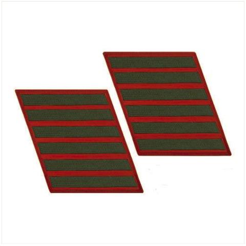 Vanguard MARINE CORPS SERVICE STRIPE: FEMALE - GREEN ON RED, SET OF 6