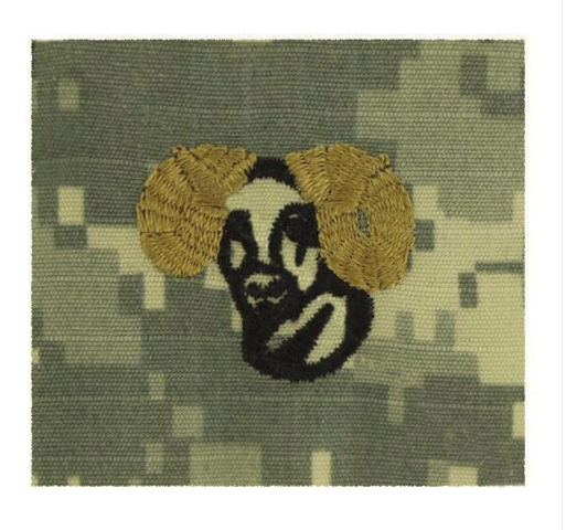 Vanguard ARMY EMBROIDERED BADGE ON ACU SEW ON: RAMS HEAD