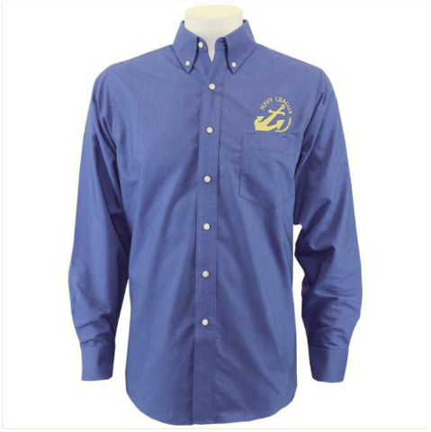 Vanguard NAVY LEAGUE MEN'S FRENCH BLUE LONG SLEEVE OXFORD SHIRT W/GOLD LOGO - L