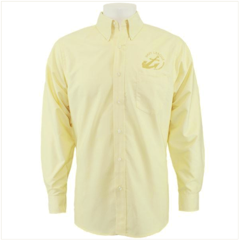 Vanguard NAVY LEAGUE MEN'S BUTTER LONG SLEEVE OXFORD SHIRT WITH GOLD LOGO MEDIUM