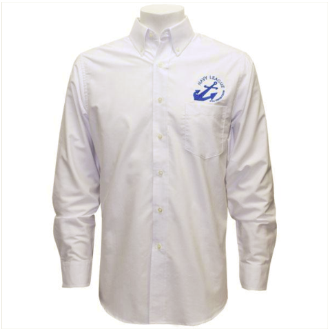 Vanguard NAVY LEAGUE MEN'S WHITE LONG SLEEVE OXFORD SHIRT W/BLUE LOGO - M