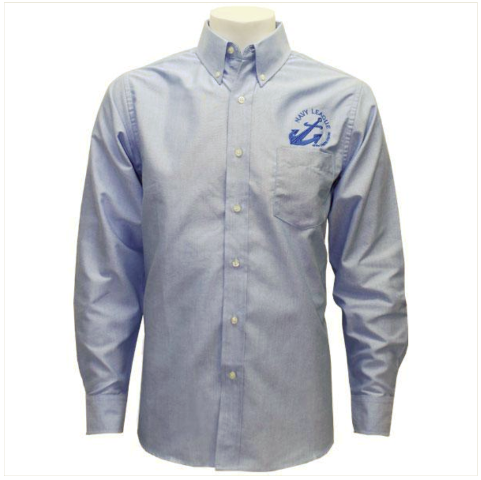 Vanguard NAVY LEAGUE MEN'S LIGHT BLUE LONG SLEEVE OXFORD SHIRT W/BLUE LOGO - XL